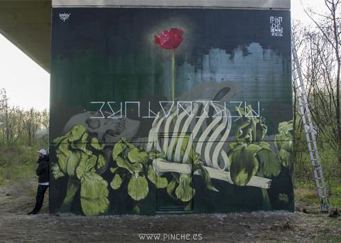Grafiti realizado por pinche en bruselas
