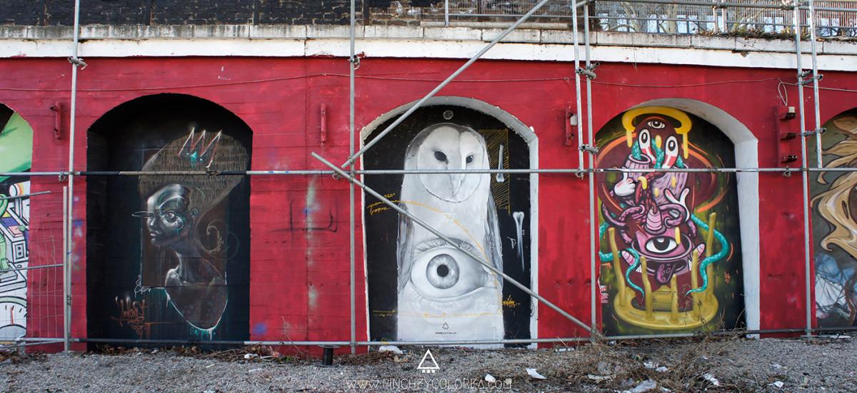 Graffiti realizado por pinche. Buho blanco. Skulls, bones, birds, cuervos, huesos y cráneos