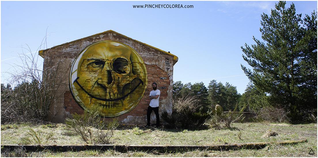 Graffiti de cara felíz mezclado con cráneo humano por Pinche