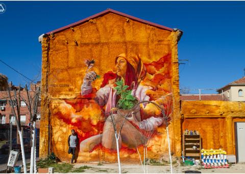 Graffiti en el Huerto urbano de la Ventilla. Tetuán, Madrid.